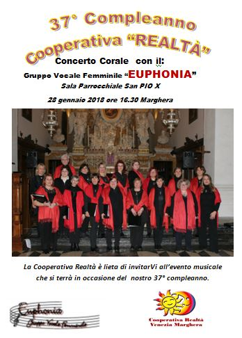"""37° compleanno """"Cooperativa Realtà"""" Concerto Corale"""